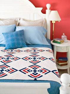 Remake a three-color quilt in your own patriotic prints or solids. Likely made for a member of the armed forces, the vintage quilt features hand quilting in a nautical anchor pattern. Strip Quilts, Blue Quilts, Quilt Blocks, Star Blocks, Small Quilts, Nautical Quilt, Nautical Prints, Nautical Anchor, American Patchwork And Quilting