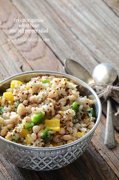 Tri-Color Quinoa, White Bean, and Bell Pepper Salad Recipe