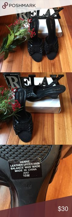 Black Mules Black woven Mules in excellent condition. Only worn once. Jones New York Shoes Mules & Clogs