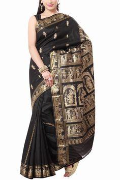 Black Swarnachari Baluchari Silk Saree
