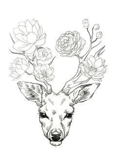 Flower Deer Art Print by minyoplanet Inspiration Art, Art Inspo, Cool Drawings, Drawing Sketches, Drawing Ideas, Drawing Tips, Tattoo Drawings, Art Du Croquis, Kunst Tattoos
