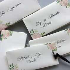 Wedding place cards, name tags, floral place cards, calligraphy place cards, watercolor place cards Watercolor Invitations, Floral Invitation, Unique Invitations, Wedding Invitations, Addressing Envelopes, Wedding Place Cards, Calligraphy Art, Name Cards, Wedding Stationary