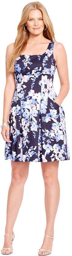Lauren Ralph Lauren Plus Size Floral-Print Pleated Dress