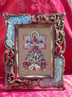 Vintage Rhinestone Jewelry Christmas Tree Angel Art By Tami R Dean
