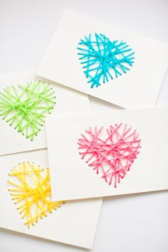 Make String Heart Yarn Cards. These make pretty handmade Valentine cards and are…