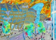 The Art Gallery, Tetbury. Michael Gutteridge, Exchange Square East No A picture of Manchester for our Manchester Art Fair Manchester Central, Manchester Art, Contemporary Paintings, Modern Contemporary, Distortion, Art Fair, Galleries, Buy Art, Reflection