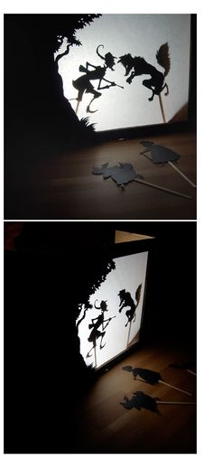 shadow play puppet style performances Schattentheater aus altem Karton / Shadow theatre made of old cardboard box Shadow Art, Shadow Play, Diy For Kids, Crafts For Kids, Shadow Theatre, Three Little Pigs, Shadow Puppets, Thinking Day, Red Riding Hood