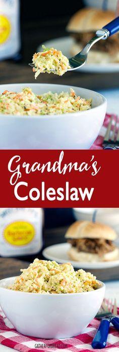 Grandmas Coleslaw - Simple, creamy, old fashioned cole slaw. A picnic favorite! | gatherforbread.com
