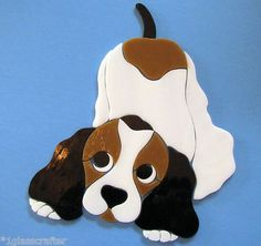 Spaniel puppy dog stained glass mosaic inlay kit. Many designs selling on ebay.