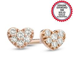 Natural Diamond Accent Pave Heart Stud Earrings in 10K Gold. Starting at $58