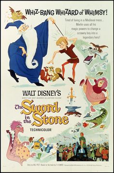 Sword in the StoneQuality A3 Movie Poster Art Gift Disney Disneyland