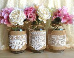 burlap and vintage lace covered 3 mason jar vases wedding deocration, bridal shower, engagement, anniversary party decor