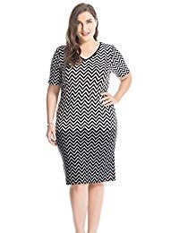 2d9d36e9e472 Plus Size Printed V Neck Short Sleeves Zigzag Dress - Knee Length Casual  and Work Dress