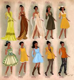 Tiana in 20th century fashion