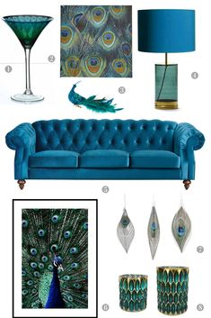 Trend Alert: The Exotic Peacock Comes Home Living Room Decoration peacock decor living room Peacock Room Decor, Peacock Living Room, Boho Living Room, Living Room Colors, Home And Living, Living Room Designs, Living Room Decor, Peacock Bedroom, Hawaiian Decor