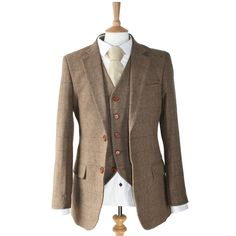 Brown Herringbone Vintage Tweed 3 Piece Suit | Victor Valentine