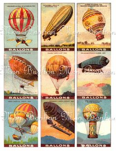 Digital Collage Sheet of Vintage Hot Air Balloons 2 by monbonbon, $2.89