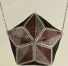 Zip together twelve cylinder-bead triangles with peyote stitch to fashion a delicate evening bag Star Patterns, Beading Patterns, Knitting Patterns, Herringbone Stitch, Brick Stitch, Dimensional Shapes, Nautical Star, Peyote Beading, Knit Patterns