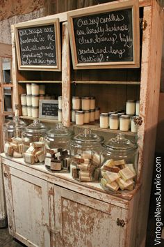 Chippy Display case with Handmade Soaps