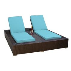 JAMAICA OUTDOOR WICKER PATIO DOUBLE CHAISE LOUNGE TROPICAL BLUE