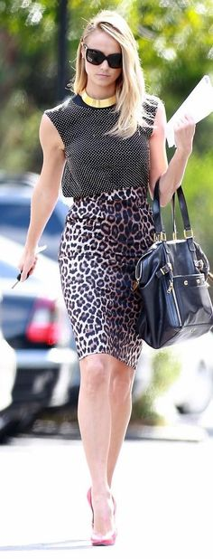 Stacy Keibler rocks an animal print skirt as she heads back to her car on Tuesday (February 28), in Los Angeles.