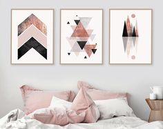 Trending Now Art Set of 3 prints Blush Pink Rose Gold 3 Set Minimalist Post