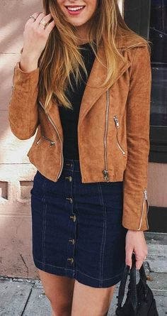 Tan suede moto jacket live the skirt too