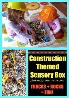 construction-themed-sensory-box-for-kids-trucks-rocks-play Motor Activities, Sensory Activities, Infant Activities, Educational Activities, Activities For Kids, Sensory Play, Sensory Motor, Construction Birthday Parties, Construction Theme