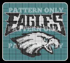 Written Pattern and Graph Philadelphia Eagles Blanket Eagles Blanket, Football Blanket, Nfl Football, Cross Stitch Kits, Cross Stitch Charts, Cross Stitch Patterns, Crotchet Patterns, Crochet Blanket Patterns, Crochet Ideas