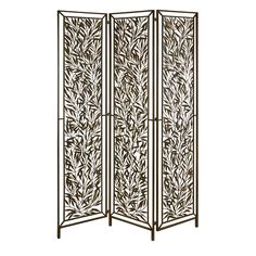 """CKI Mazatol Iron Screen - The Mazatol screen is formed of iron leaves in a random pattern to add dramatic depth to any setting.  SKU: 10790  Dimensions: (77.5""""h x 54""""w)"""
