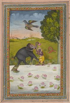 Gajendra Moksha circa Indian School (via Royal Collection Trust) The young Vishnu (here depicted as Krishna) saves the elephant Gajendra from the clutches of the crocodile Makara. Vishnu has slit Makara's throat with his, now. Elephant Life, Indian Art Gallery, Hindu Deities, Hinduism, The Royal Collection, Save The Elephants, Indian Gods, Indian Paintings, Gods And Goddesses