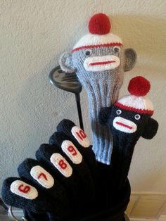 Sock Monkey knitted golf club cover set