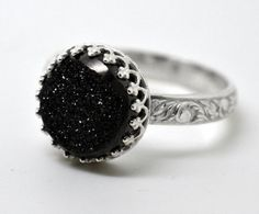 Black Druzy Ring, Sterling Silver Cocktail Ring, Patterned Silver Ring