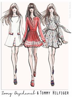 Fabulous Doodles-Fashion Illustration Blog-by Brooke Hagel: Zooey Deschanel & Tommy Hilfiger Sketches
