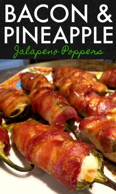 Bacon & Pineapple Jalapeno Poppers An amazing appetizer recipe for jalapeno peppers stuffed with a pineapple cream cheese filling wrapped in bacon then basted with barbeque sauce. Best Appetizer Recipes, Bacon Recipes, Healthy Recipes, Best Appetizers, Mexican Food Recipes, Cooking Recipes, Healthy Food, Game Recipes, Amazing Food Recipes