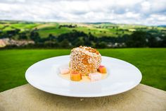 The Ultimate Yorkshire Pudding for Yorkshire Day. Coconut Ice, Rhubarb, Custard and Toffee