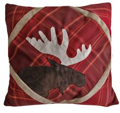 Lake Lodge Red Plaid Moose Pillow - Your Western Decor