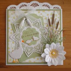 The doily die Marianne Design Cards, Crafters Companion Cards, 3d Cards, Pretty Cards, Baby Cards, Flower Cards, Vintage Cards, Birthday Cards, Card Making