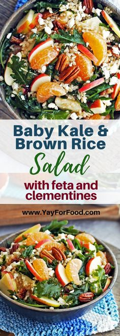 BABY KALE BROWN RICE SALAD WITH FETA AND CLEMENTINES Check out this delicious winter salad featuring fiber-rich brown rice, fresh baby kale, and sweet clementine oranges! Vegetarian and gluten-free too. #salads | #healthy | #brownrice | #kale | #clementines | #oranges | #vegetarian | #glutenfree | #feta |#easyrecipes | #wintersalads