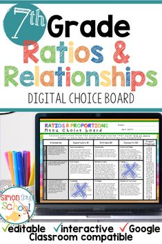 This editable DIGITAL choice board for Google Drive™ is an amazing differentiation tool that not only empowers students through choice but also meets their individual needs. It is a great resource for addressing 7th grade common core math standards while teaching remotely. #virtualclassroom #remoteteaching #onlineclassroom #distancelearning