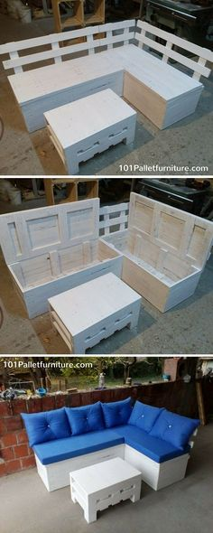 Pallet Sectional Sofa with Additional Storage Space - 101 Pallet Furniture #diy #patio #furniture