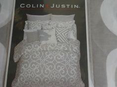 Colin Justin Light Gray White Modern 3pc Queen Duvet Cover Set
