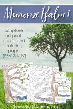 Memorize Psalm 1 as a family with this beautiful Scripture printable pack! Includes custom illustrations, memory verse cards, and a coloring page. Coloring Bible, Coloring Pages, Doers Of The Word, Psalm 1, Love Scriptures, Prayers For Children, Verses For Cards, Memory Verse, Scripture Art