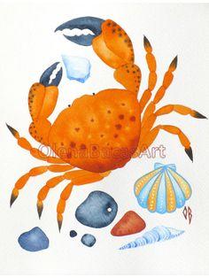 Crab ORIGINAL Watercolor Painting Sea Shell Sea by OlenaBacasArt, $35.00