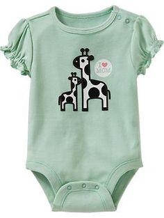 """""""I Heart Mom"""" Giraffe Bodysuits for Baby"""