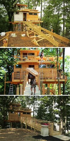 Beginning, middle and end of the building of the Frank Lloyd inspired treehouse!