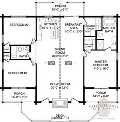 First Floor Plan of Adair log cabin plan I like but add 8 feet on