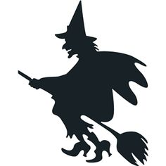 Halloween silhouette of witch chopping - - Retro Halloween, Happy Halloween, Casa Halloween, Holidays Halloween, Halloween Witches, Moldes Halloween, Adornos Halloween, Manualidades Halloween, Witch Silhouette