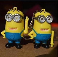 2Pcs Lamp Talking keychain Despicable Me 2 Minion Toy Key Ring 3D Eyes Nice Gift