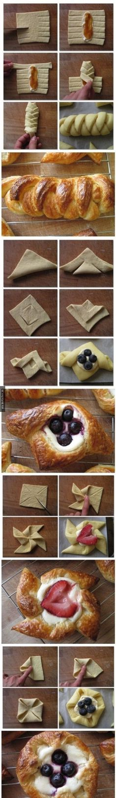 pretty puff pastry techniques. for the filling cream cheese or greek yogurt can be used